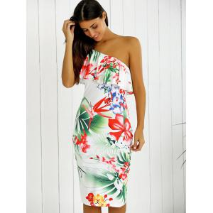 One-Shoulder Overlay Floral Print Fitted Dress - WHITE S
