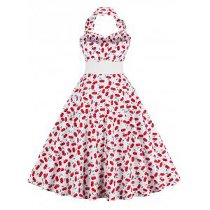 Cherry Print Halter Vintage A Line Dress - RED M