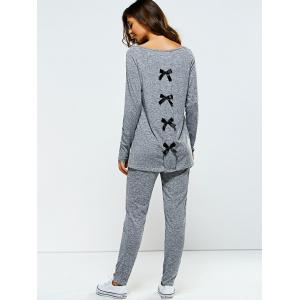 Bowknot Embellished Asymmetrical Sports Suit - GRAY XL