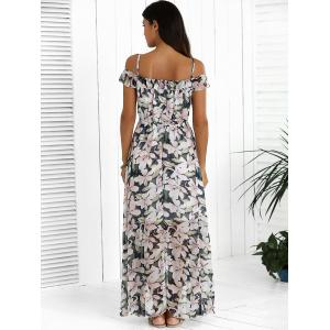 Floral Maxi Chiffon Beach Dress with Slit -