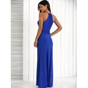 Ruffle Front Maxi Formal Evening Carpet Dress - ROYAL BLUE XL
