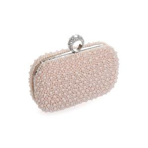 Metal Trimmed  Beading Evening Clutch - PINK