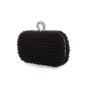 Metal Trimmed  Beading Evening Clutch -