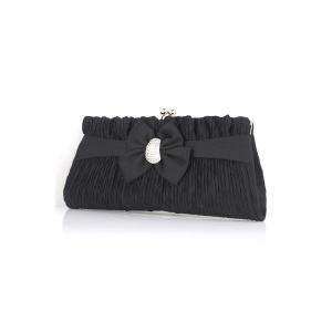 Bow Satin Pleated Evening Clutches -