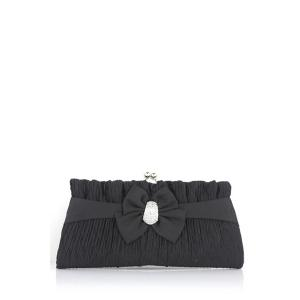 Bow Satin Pleated Evening Clutches - Black - 39