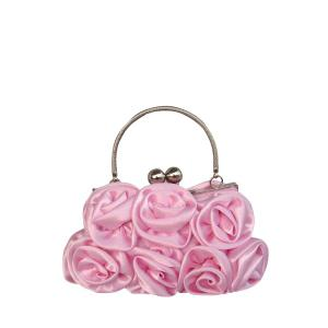 Metal Trimmed Silk Flowers Evening Bag - Pink - 8