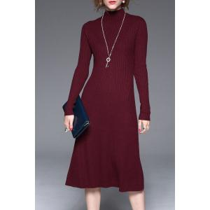 Knitted Long Sleeve Midi Dress - Wine Red - Xl