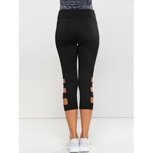 Hollow Out Quick -Dry Gym Running Capris - BLACK XL