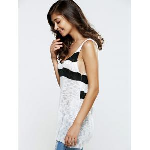 Slit Back Striped Kintted Tank Top -