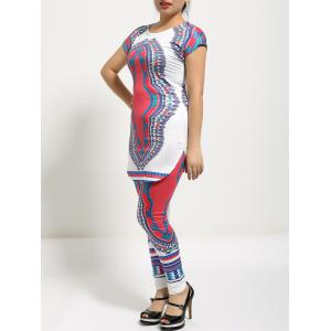 Tribal Print T-Shirt and Slimming Pants Twinset -