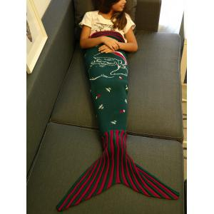 High Quality Santa Claus Pattern Knitting Mermaid Tail Blanket For Kid -