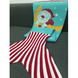 Moon and Santa Claus Pattern Knitting Mermaid Tail Blanket - AZURE M