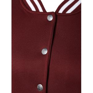Snap Button Up Varsity Stripe Jacket -