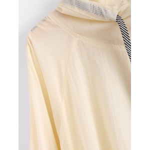 Zipped Drawstring Sun-Protective Hoodie -