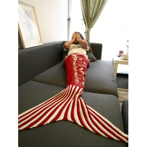 Christmas Tree and House Pattern Knitting Mermaid Blanket - RED M