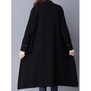 Chinese Style Pocket Button Up Long Coat -