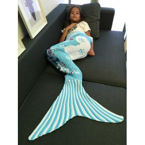 Snows and Mini-Train Pattern Knitting Christmas Mermaid Blanket -