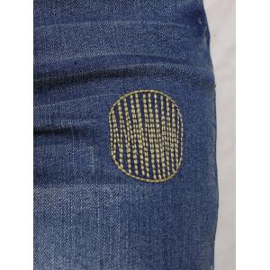 Slimming Embroidered Bleach Wash Jeans -