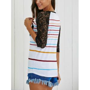 Lace Insert Stripe Baseball Tee - WHITE XL