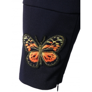 Surplice Butterfly Embroidered Tied Dress -