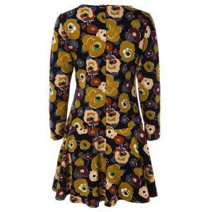 Long Sleeves Floral Pattern Flare Dress -