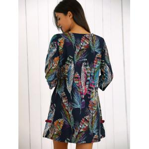 Feather Print Frog Button Shift Dress -