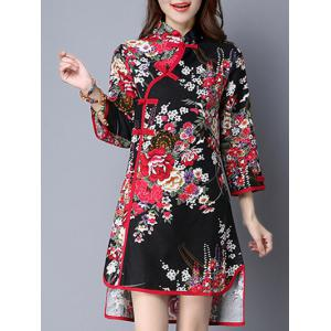 Asymmetric Blossom Print Cheongsam Dress -