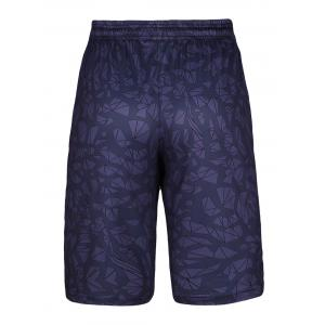 Crushed Ice Printed Elastic Waist Basketball Shorts - DEEP PURPLE XL