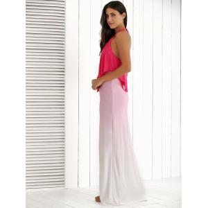 Halter Ruched Ombre Backless Dress -