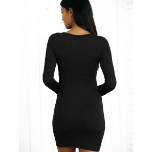 Tight Long Sleeves Criss-Cross Lace Up Dress - BLACK XL