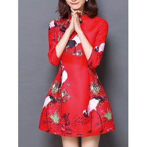 Chinese Style Carne Bird Print Mandarin Collar Dress -