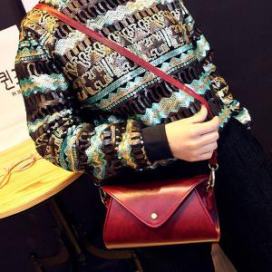 PU Leather Covered Closure Dark Color Crossbody Bag -