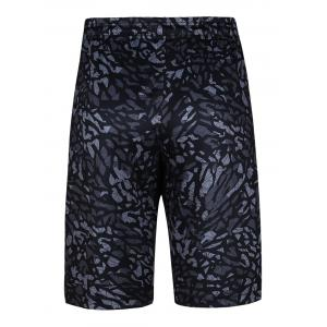Crushed Ice Geometric Printed Elastic Waist Basketball Shorts -