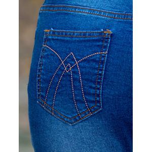 Ethnic Style Embroidered Frayed Skinny Jeans -