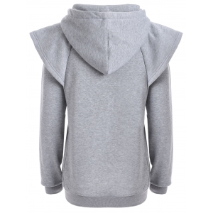 Drawstring Cape Sleeves Pullover Hoodie - GRAY 2XL