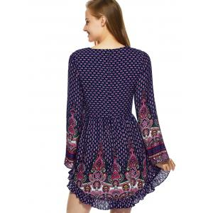 Flounce Lace Up Floral BohoTunic Dress -