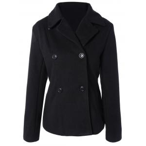 Take Off Faux Fur Hooded Double Breasted Slim Fitted  Coat - BLACK 2XL
