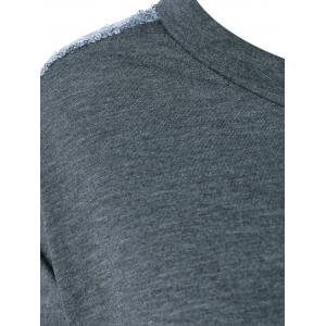 Sequined Jewel Neck T-Shirt - GRAY 2XL