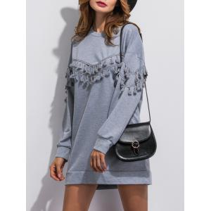 Tassel Long Sleeve Sweatshirt Dress - GRAY XL