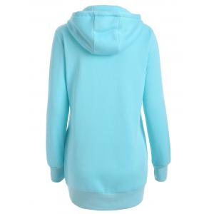 Pleated Pullover Long Hoodie - WATER BLUE 2XL