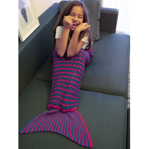 Stripe Pattern Fish Tail Design Knitted Blankets and Throws For Kid - PURPLE