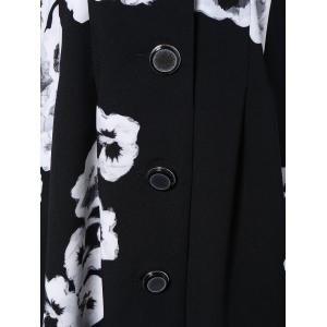 3/4 Sleeves Floral Print Flare Coat -