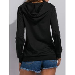 Letter Print Pocket Design Hoodie - BLACK XL