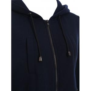 Hooded Zip Up Drawstring Coat - PURPLISH BLUE 2XL