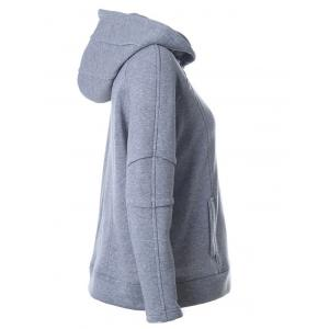 Zipper Design Hooded Long Sleeve Hoodie - GRAY XL