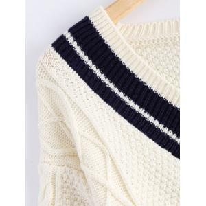 V-Neck Long Sleeve Cable Knit Sweater -