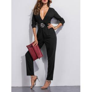 Plunging Neck Pocket Design Jumpsuit -