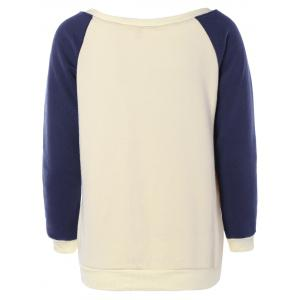 Raglan Sleeves Fleece Deer Sweatshirt - OFF-WHITE M