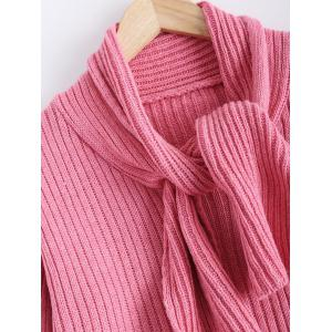 Ribbed Knotted Scarf Long Sleeve Sweater -