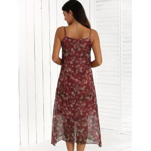 Summer Chiffon Floral Boho Slip Swing Vest Midi Dress - RED 2XL